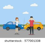 head on collision. car accident....   Shutterstock . vector #577001338