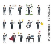 isolated businessman set. funny ... | Shutterstock . vector #577001362