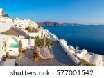 beautiful santorini in greece   ...   Shutterstock . vector #577001542