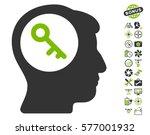 Brain Key Icon With Bonus Uav...