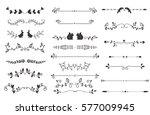 vector dividers calligraphic... | Shutterstock .eps vector #577009945