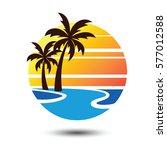 summer holidays design labels ... | Shutterstock .eps vector #577012588