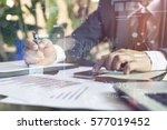 business hand working with new... | Shutterstock . vector #577019452