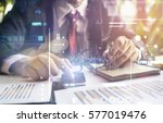 business hand working with new... | Shutterstock . vector #577019476