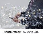 double exposure businessman... | Shutterstock . vector #577046236