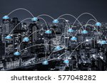 cloud networking concept with... | Shutterstock . vector #577048282