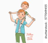 father and son having fun and... | Shutterstock .eps vector #577049455