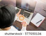 woman surfing the internet with ... | Shutterstock . vector #577050136