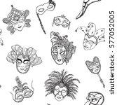 venice italy carnival masks... | Shutterstock .eps vector #577052005