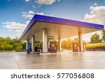 Gas station with clouds sky and sun light