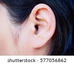 human ear closeup | Shutterstock . vector #577056862