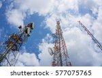 telecommunication tower... | Shutterstock . vector #577075765