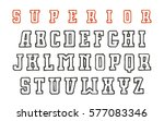contour serif font in the style ... | Shutterstock .eps vector #577083346