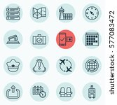 set of 16 airport icons.... | Shutterstock .eps vector #577083472