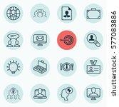 set of 16 business management... | Shutterstock .eps vector #577083886