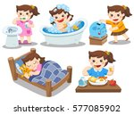 the daily routine of a cute... | Shutterstock .eps vector #577085902