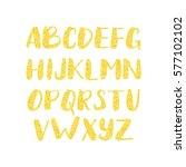 gold glitter alphabet. shiny... | Shutterstock .eps vector #577102102