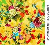 humming bird wild roses  peony  ... | Shutterstock .eps vector #577103896