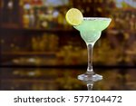 margarita cocktail with lime in ... | Shutterstock . vector #577104472