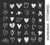 funny doodle hearts icons... | Shutterstock .eps vector #577108402