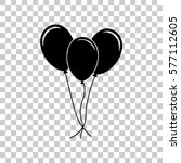 Balloons Set Sign. Black Icon...