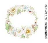 decorative wreath with flowers... | Shutterstock .eps vector #577124842