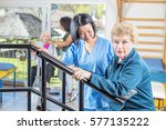 rehab clinic gym. multi racial... | Shutterstock . vector #577135222