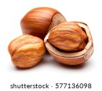 Closeup Of Hazelnuts  Isolated...