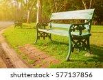 wooden bench in the park | Shutterstock . vector #577137856