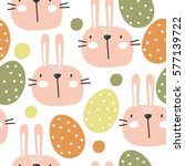 happy easter pattern with cute... | Shutterstock .eps vector #577139722