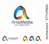 colorful letter a logo design... | Shutterstock .eps vector #577139806