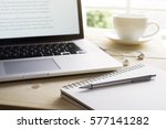 pen and notebook with laptop... | Shutterstock . vector #577141282
