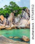 rocky beach hin ta and hin yai  ... | Shutterstock . vector #577145512
