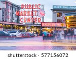 Small photo of Seattle,Washington,usa. 02/06/17: Pike place market with reflection on the ground at night..
