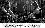 woman workout in fitness gym... | Shutterstock . vector #577158202