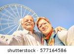 happy retired senior couple... | Shutterstock . vector #577164586
