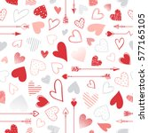 seamless pattern with hearts... | Shutterstock .eps vector #577165105
