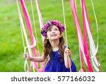 little girl on the swing ... | Shutterstock . vector #577166032