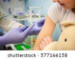 the pediatrician or nurse to... | Shutterstock . vector #577166158