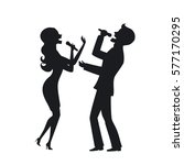 elegant couple singing karaoke... | Shutterstock .eps vector #577170295