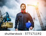 portrait of a mechanical worker | Shutterstock . vector #577171192