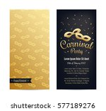 golden carnival mask with... | Shutterstock .eps vector #577189276