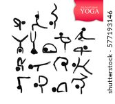 stick figures in different yoga ... | Shutterstock .eps vector #577193146