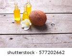 bottles with coconut oil on ... | Shutterstock . vector #577202662