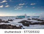 big huge shorebreak ocean... | Shutterstock . vector #577205332