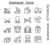insurance icon set in thin line ... | Shutterstock .eps vector #577218142