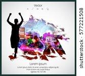 silhouette of marathon runner | Shutterstock .eps vector #577221508