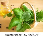 Little Basket With Herbs And A...