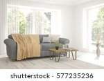 white room with sofa and green... | Shutterstock . vector #577235236