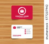 Business card template with texture. Cooking pan sign icon. Boil or stew food symbol. Phone, web and location icons. Visiting card  - stock photo